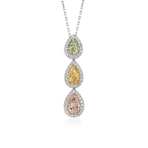 Fancy Diamond Halo Three-Stone Pendant in 18k White Gold (2.85 ct. tw.)