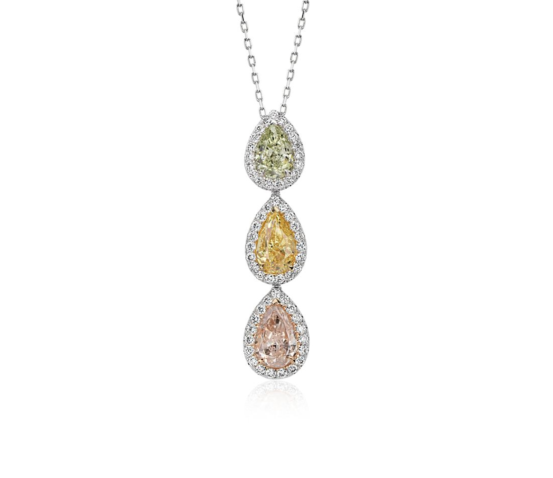 Fancy Diamond Halo Three-Stone Pendant in 18k White Gold (2 4/5 ct. tw.)