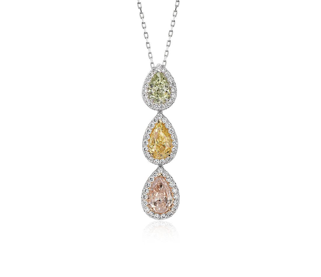 Fancy Diamond Halo Three-Stone Pendant in 18k White Gold (2.85 ct. tw.)