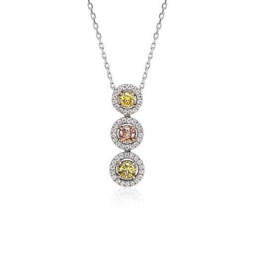 Fancy Diamond Halo Three-Stone Drop Pendant in 18k White Gold