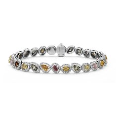 Brazalete de diamantes de color fantasía de Oro blanco de 18k (8,26 qt. total)
