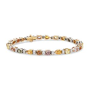 Brazalete de diamantes de color fantasía en oro blanco de 18 k (8,03 qt. total)