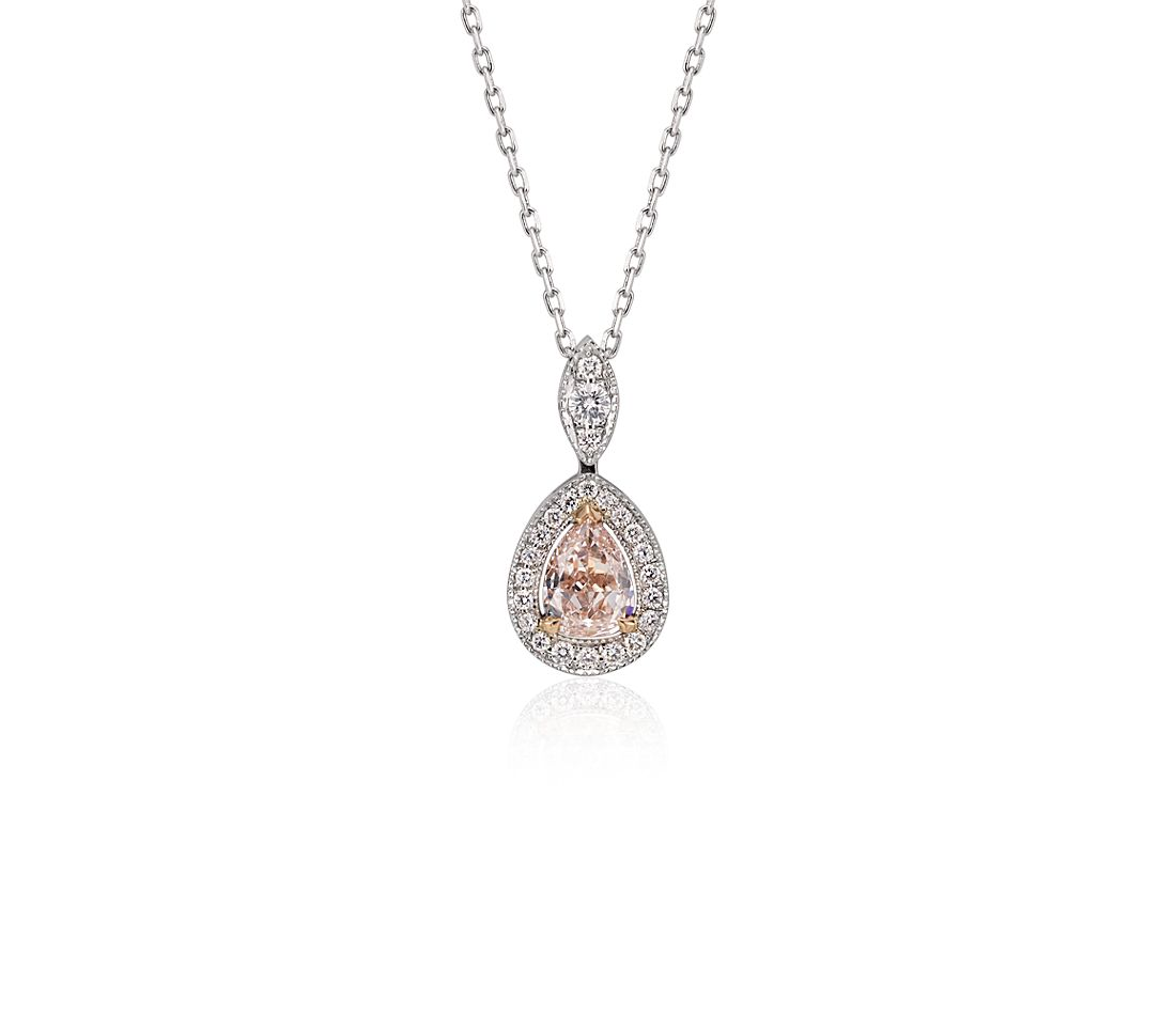 Fancy Light Brownish-Pink Pear Diamond Halo Pendant in 18k White Gold