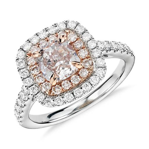 NEW Fancy Light Pink Diamond Double Halo Cushion-Cut Ring in 18k White and Rose Gold