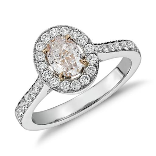 Fancy Light Pink Oval Diamond Halo Ring in Platinum (1.44 ct. tw.)