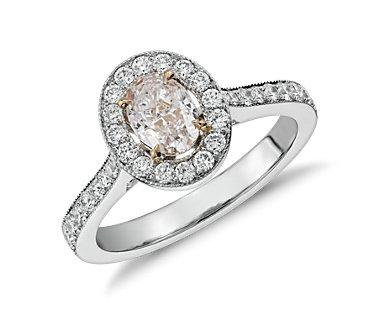 Bague halo de diamants ovales rose clair fantaisie en platine (1,44carats, poids total)