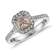 Fancy Pink Radiant Diamond Halo Ring in 18k White Gold (1.11 ct. tw.)