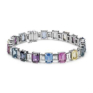 Brazalete de diamantes y zafiros de color fantasía en oro blanco de 18 k (30,6 qt. total)