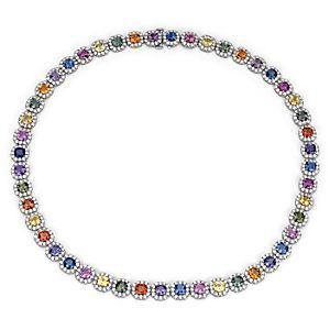 NUEVO. Collar llamativo de halo de diamantes y zafiros de fantasía, en oro blanco de 18 k (37,92 qt. total)