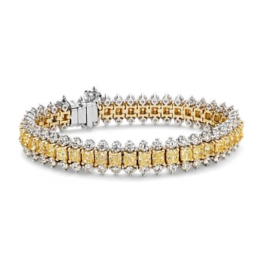 NEW Fancy Intense Yellow Cushion Diamond Bracelet in 18k White and Yellow Gold (22.46 ct.tw.)