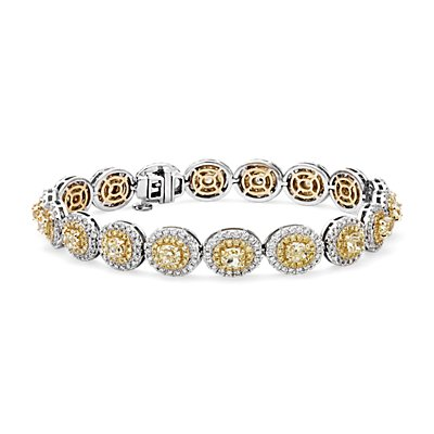 NEW Fancy Yellow Bracelet en diamant halo in Or blanc et jaune 18 carats (8,59 carats, poids total)