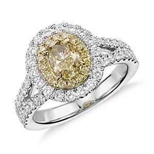 Fancy Yellow Diamond Pavé Double Halo Ring in 18k White and Yellow Gold (1.94 ct. tw.)