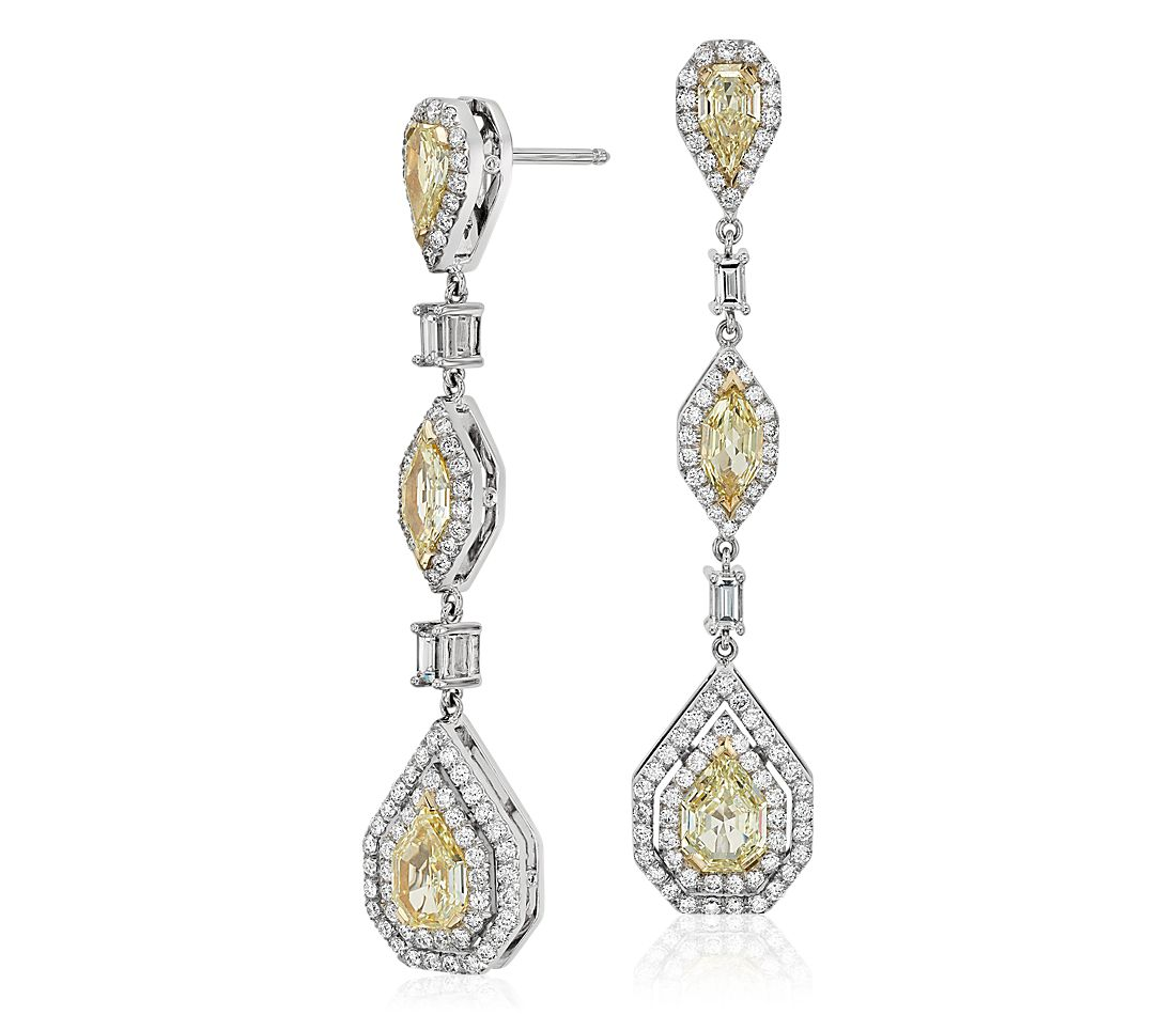 Fancy Yellow Diamond Halo Drop Earrings in 18k White Gold (4.39 ct. tw.)