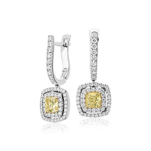 NEW Fancy Yellow Cushion-Cut Diamond Double Halo Drop Earrings in 18k White and Yellow Gold (1.79 ct. tw.)