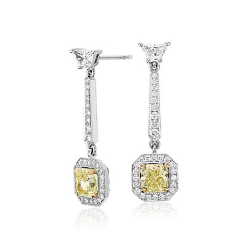 NEW Fancy Yellow Radiant Cut Diamond Halo Drop Earrings in 18k White Gold (3.25 ct. tw.)