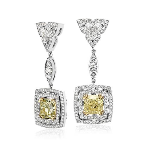 NEW Fancy Yellow Cushion-Cut Diamond Double Halo Drop Earrings in 18k White and Yellow Gold (8.36 ct. tw.)