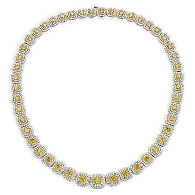 Collier éternité double halo de diamants jaune fantaisie en or blanc et jaune 18 carats (23.11 carats, poids total)