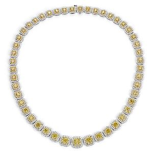 Fancy Yellow Diamond Double Halo Eternity Necklace in 18k White and Yellow Gold (23.11 ct. tw.)