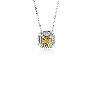 NEW Fancy Intense Yellow Diamond Pendant in 18k White and Yellow Gold (1 ct. tw.)
