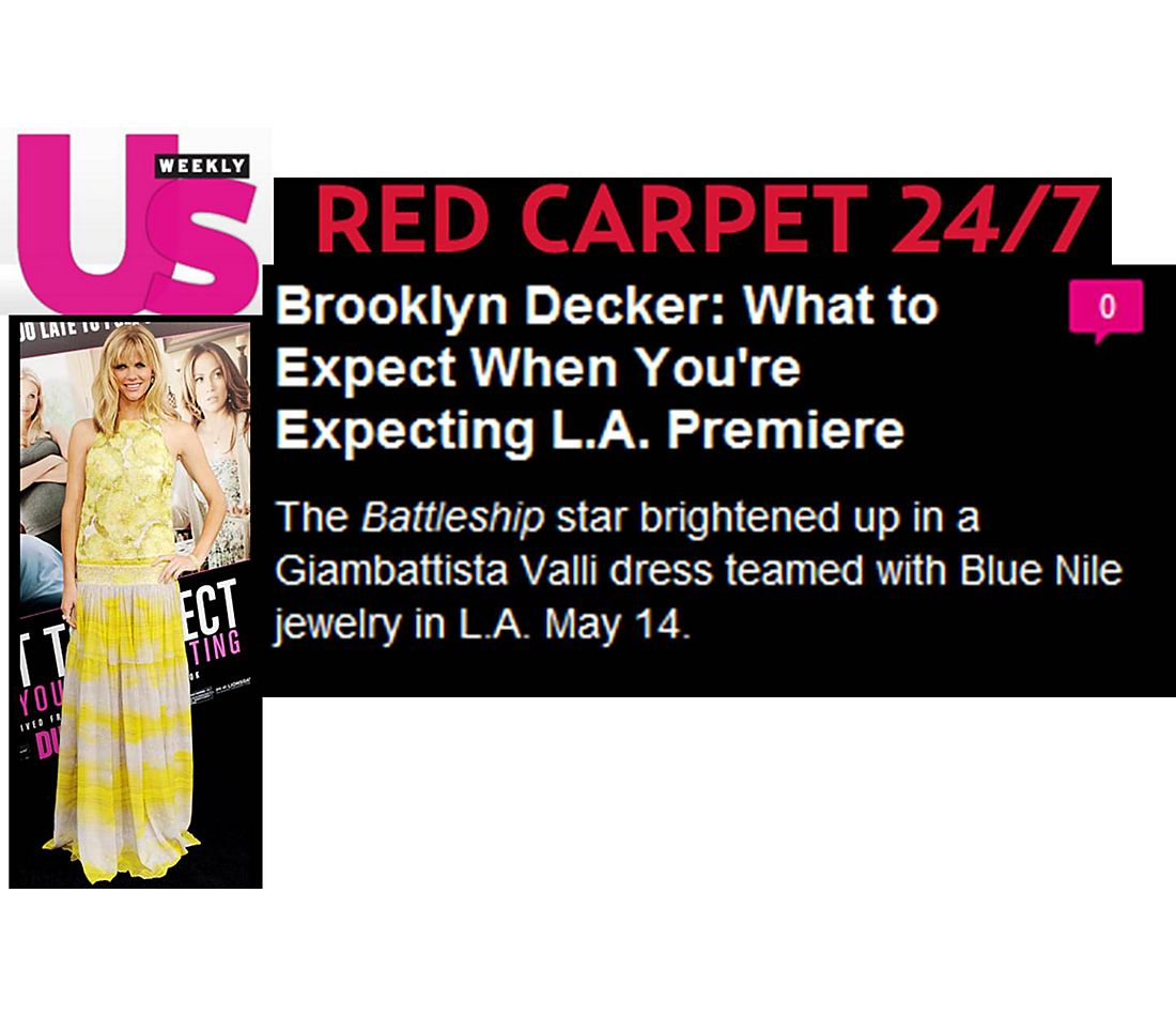 "US Weekly - Brooklyn Decker at the ""What to Expect When You're Expecting"" Premiere"