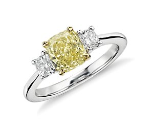 Cushion Fancy Yellow Diamond Three-Stone Ring in 18k White Gold