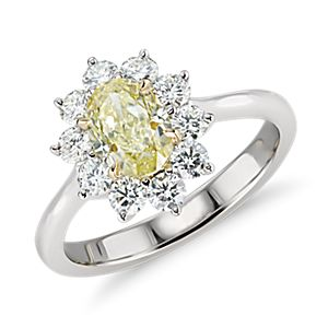 NEW Fancy Yellow Diamond Ring in 18k White and Yellow Gold (1.13 ct. center)