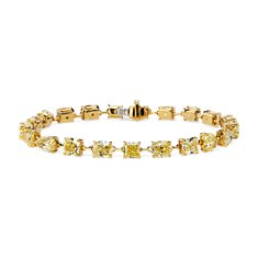 Bracelet tennis diamant jaune fantaisie en Or jaune 18 ct (12.26 carats, poids total)