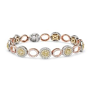 Yellow and White Diamond Oval Halo Bracelet in 18k White, Rose and Yellow Gold (5.46 ct. tw.)