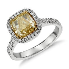 Fancy Yellow Micropavé Halo Diamond Ring in 18k White Gold (2.77 ct. tw.)