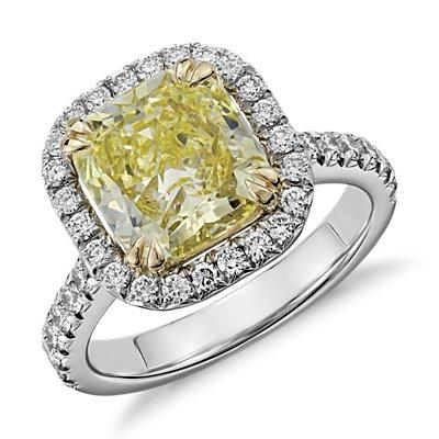 Bague halo de diamants taille coussin jaune fantaisie sertis micro-pavé en platine et or jaune 18carats (3,52carats, poids total)