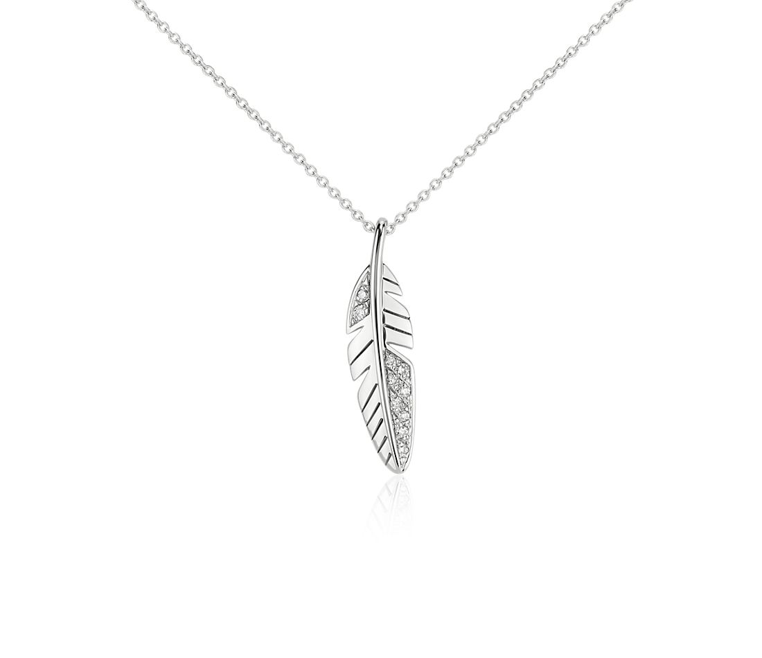 Mini Feather Diamond Pendant in 14k White Gold