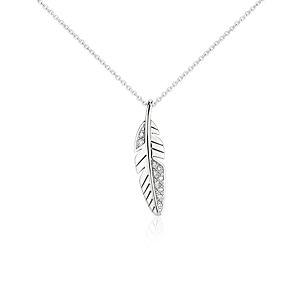 Colgante de diamantes en forma de pluma pequeña en oro blanco de 14 k