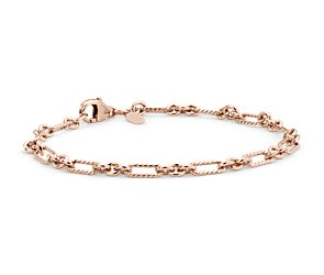 Figaro Bracelet in Rose Gold Vermeil