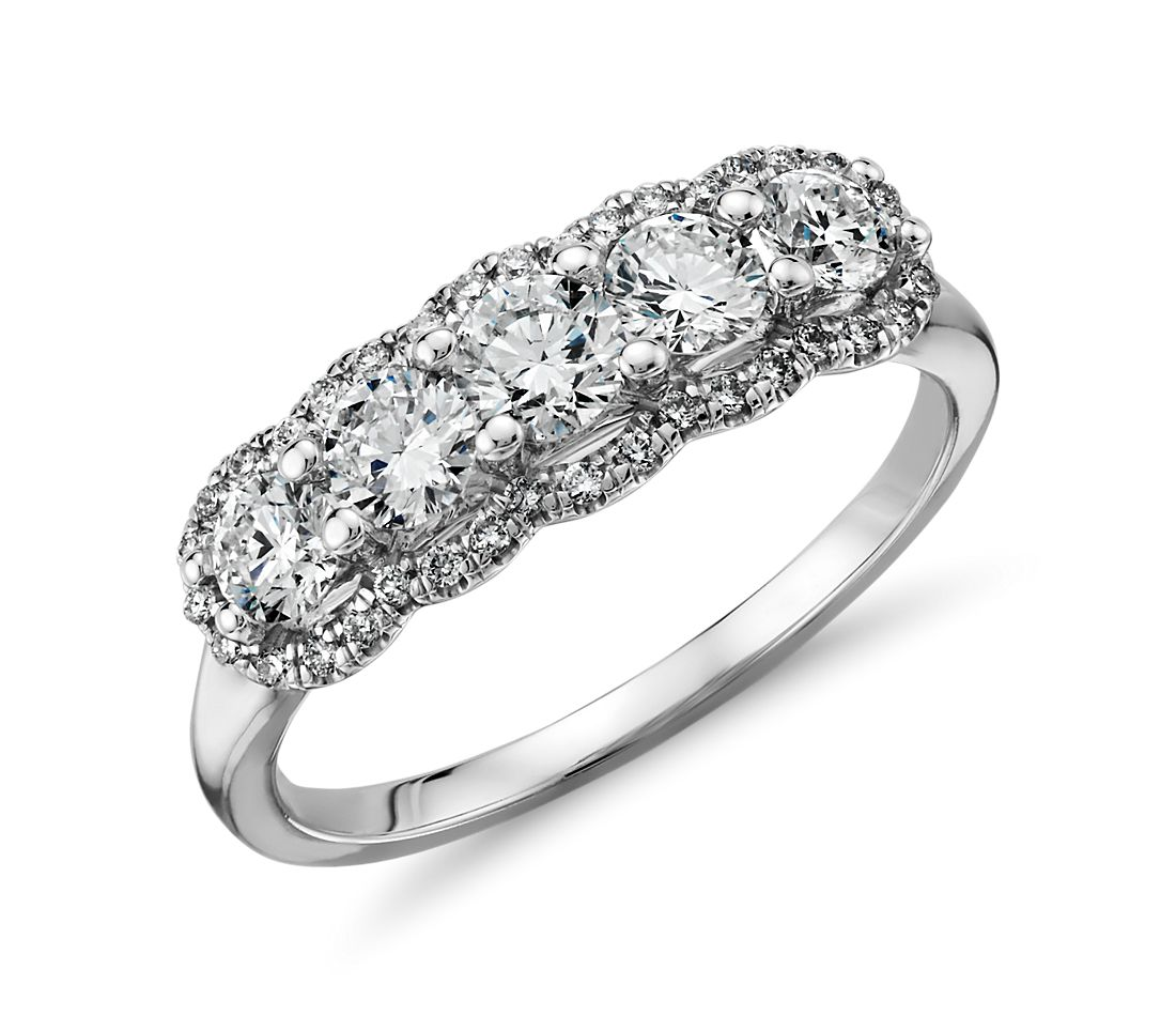 Five Stone Halo Diamond Ring in 14k White Gold (1 ct. tw.)