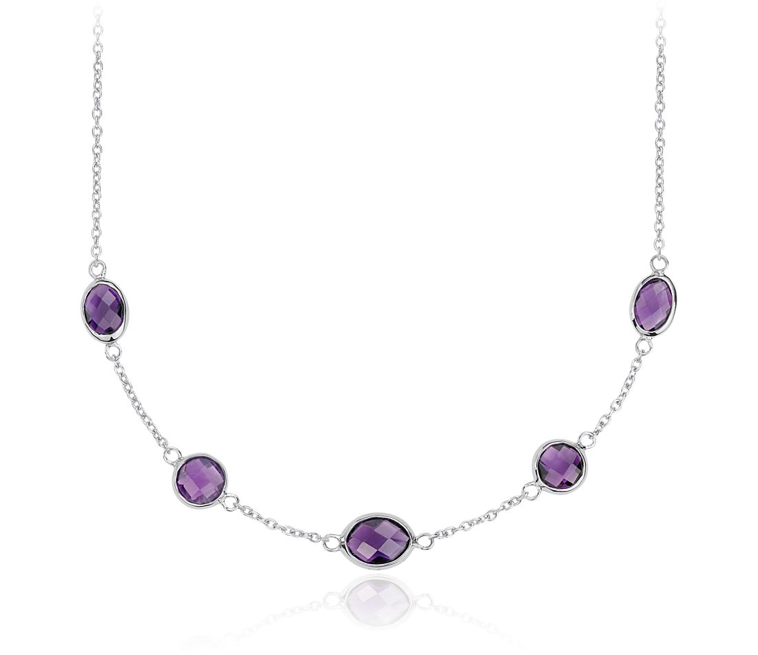 Amethyst 5 Stone Stationed Necklace in Sterling Silver