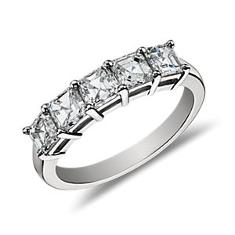 Bague à cinq diamants taille Asscher classique en platine (1,50carats, poids total)