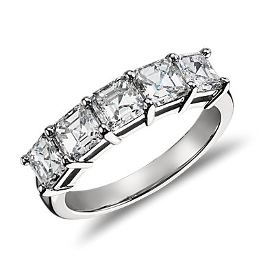 Classic Asscher Cut Five Stone Diamond Ring in Platinum (2.00 ct. tw.)