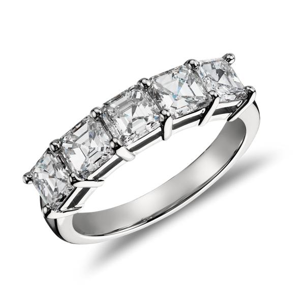 Anillo clásico de cinco diamantes de talla Asscher en platino (2,00 qt. total)