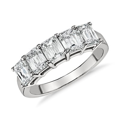 Brilliant Emerald Cut Five-Stone Diamond Ring in Platinum (2.00 ct. tw.)