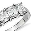 Bague à cinq diamants taille émeraude brillant en platine 2,00carats, poids total