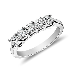 Classic Cushion Cut Five Stone Diamond Ring in Platinum (1 ct. tw.)