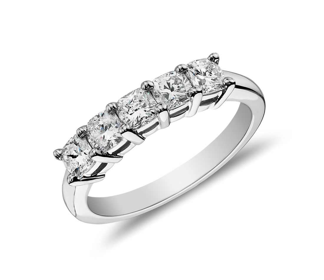 Classic Cushion Cut Five Stone Diamond Ring in Platinum (1 ct. tw.)