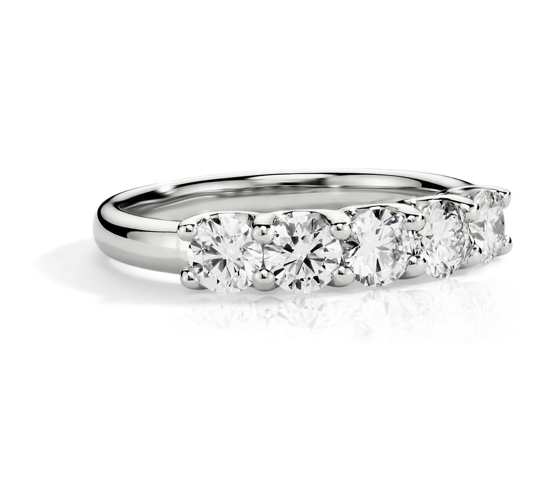 U-Prong Five-Stone Diamond Ring in 14k White Gold (1 ct. tw.)