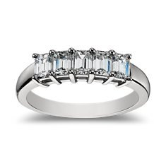 Classic Emerald Cut Five Stone Diamond Ring in Platinum (1 ct. tw.)