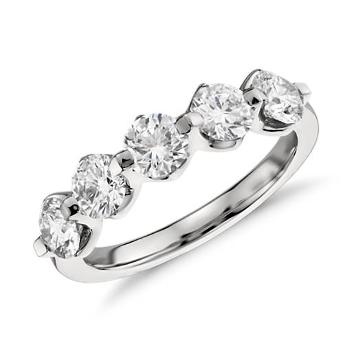 Five Stone Floating Diamond Ring in Platinum (1.5 ct. tw.)
