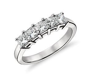 Bague diamant taille princesse à cinq pierres classique en platine (1carat, poids total)