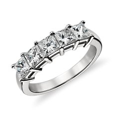 Classic Princess Cut Five Stone Diamond Ring in Platinum (1.50 ct. tw.)