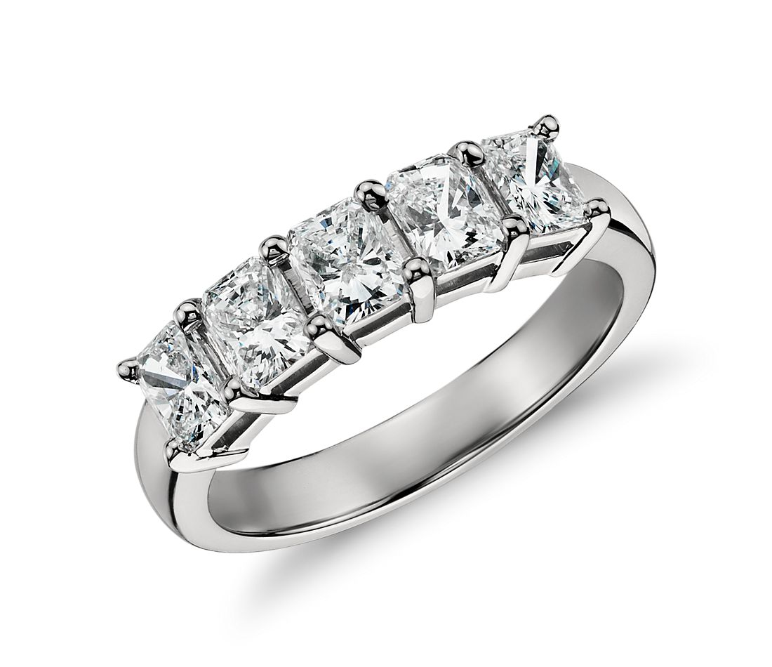 Classic Radiant Cut Five Stone Diamond Ring in Platinum (1.50 ct. tw.)