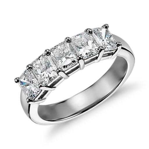 Bague diamant à cinq pierres taille radiant Classic en platine (2,00ct. pt.)