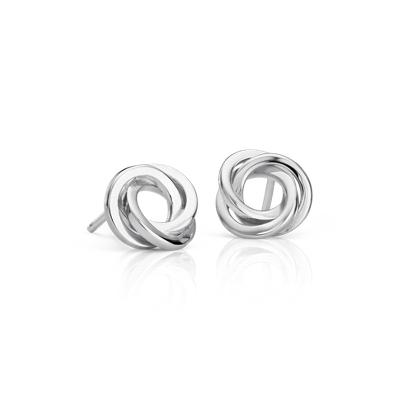 Flat Love Knot Stud Earrings in Sterling Silver